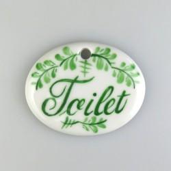 Toilet porcelænsskilt med bladdekoration og 1 skruehul, mål 5,6 x 4,5 cm