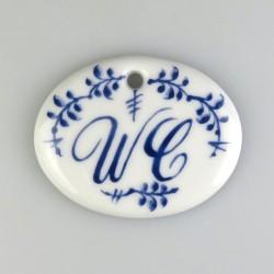 """WC-skilt med dekoration """"Nostalgi-kvist"""" og 1 skruehul, mål 5,6 x 4,5 cm"""