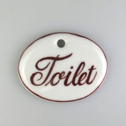 """""""Toilet"""" og stregdekoration på porcelænsskilt med 1 skruehul, mål 5,6 x 4,5 cm"""