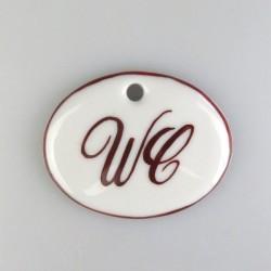 """""""WC"""" og stregdekoration på porcelænsskilt med 1 skruehul, mål 5,6 x 4,5 cm"""