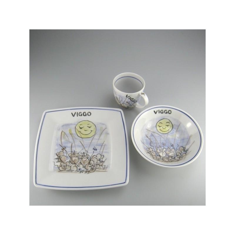 Børnestel / dåbsgave med navn i håndmalet porcelæn med motiv Mus og Månen