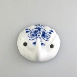 Håndmalet muslingeformet enkelt knage i porcelæn med dekoration Nostalgi