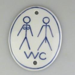 """WC skilt """"Adam og Eva"""" på højkant - Håndmalet porcelænsskilt med piktogram og streg langs kanten"""