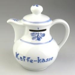 Kaffekasse - sparebøsse i håndmalet porcelæn med bladmotiv