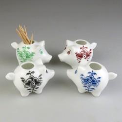 Sød lille gris tandstikholder i håndmalet porcelæn med dekoration Nostalgi