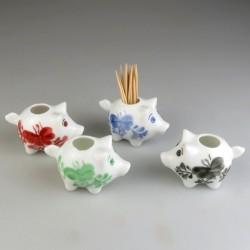 Sød lille gris tandstikholder i håndmalet porcelæn med dekoration Sommerfugl