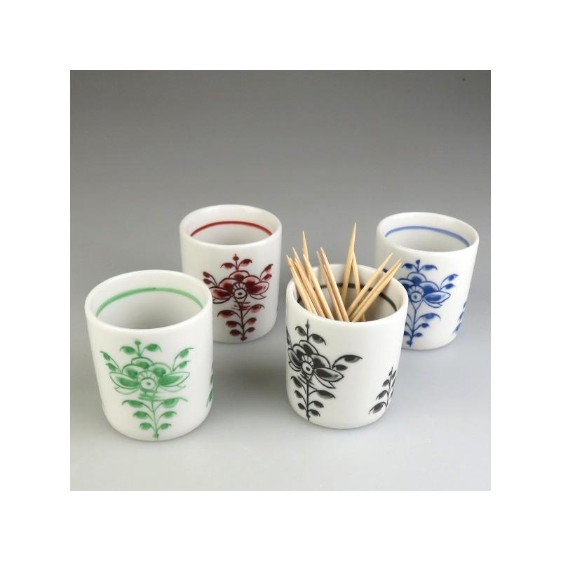 Bægerformet tandstikholder i håndmalet porcelæn med Nostalgi-dekoration