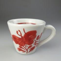 Stor håndmalet espressokop med dekoration i bordeaux Sommerfugl (model EB)