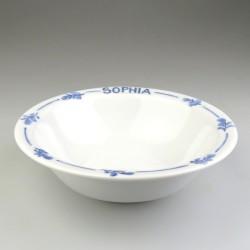 Morgenmadsskål / ymerskål med navn og bladdekoration i håndmalet porcelæn