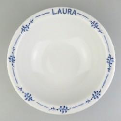 Morgenmadsskål / ymerskål med navn og kvist-dekoration i håndmalet porcelæn