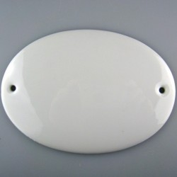 12 x 9 cm - Ovalt skilt navneskilt / husskilt i porcelæn