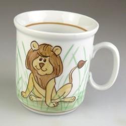 Børnekrus i håndmalet porcelæn med løve (model A)