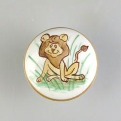 Porcelænsgreb med en løve som motiv til børneværelset