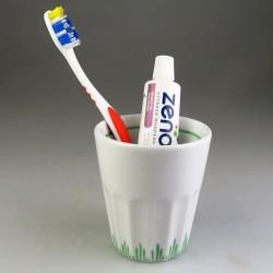 """Tandkrus i porcelæn med håndmalet """"græs"""" dekoration (Model F)"""