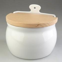 Hvidt saltkar med låg - til væg eller stående på bord