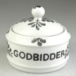 Lille skål med låg til godbidder til hunde og katte - dekoreret med håndmalet bladmotiv