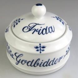 Godbidskrukke med navn og Nostalgi dekoration i håndmalet porcelæn