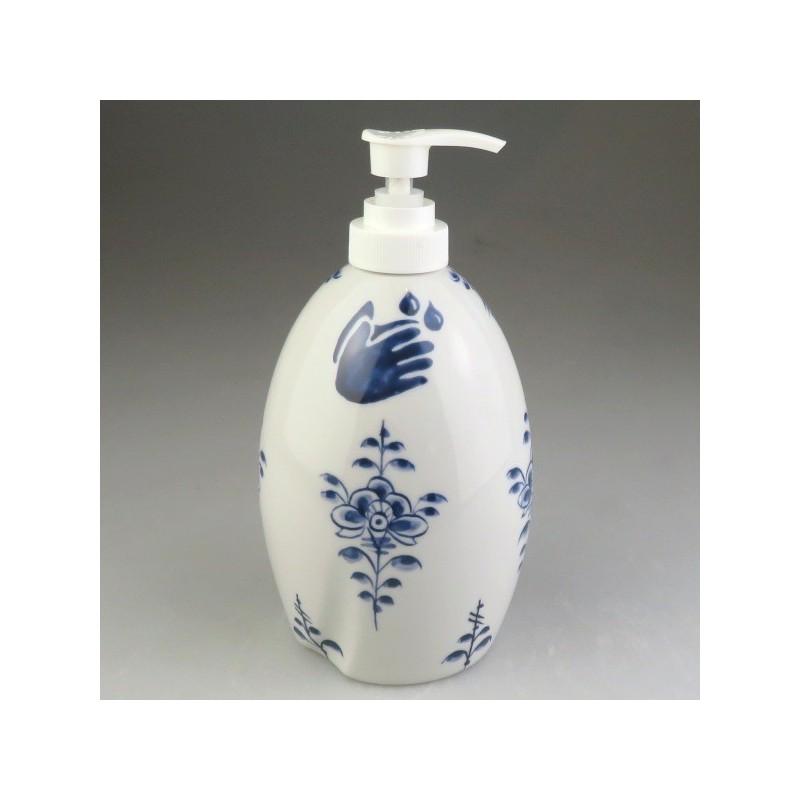 Dispenser (model B) til sæbe, lotion eller sprit i håndmalet porcelæn med Nostalgi-dekoration