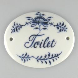 """""""Toilet"""" - Håndmalet skilt 9 x 7,5 cm med dekoration i Nostalgi-mønster"""