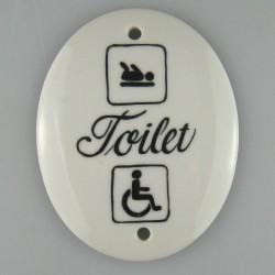 Toilet skilt - 7,5 x 9 cm - med tekst og piktogrammer for puslerum og handicaptoilet