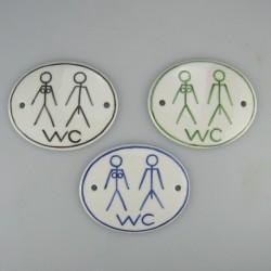 WC skilt - 9 x 7,5 cm - med kvinde og mand som piktogram
