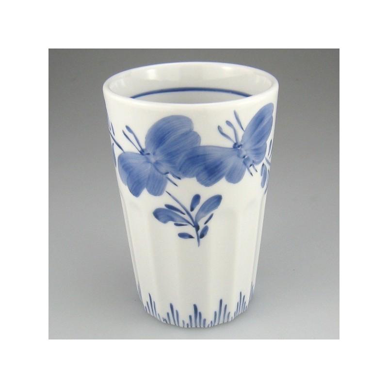 Tandbørsteholder i porcelæn med håndmalet dekoration Sommerfugl og Græs