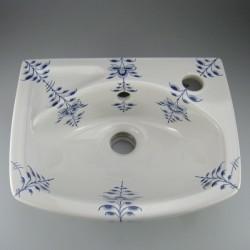 Lille oval håndmalet håndvask 35 x 27 cm med dekoration Nostalgi