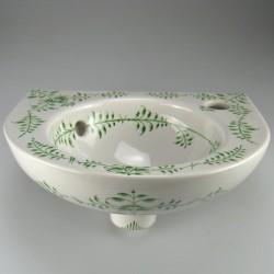 Lille rund håndmalet håndvask 35 x 28 cm med dekoration Nostalgi