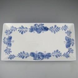 31 x 16 cm - Håndmalet pålægsfad (B) / tallerken til sushi med Sommerfugle-motiv