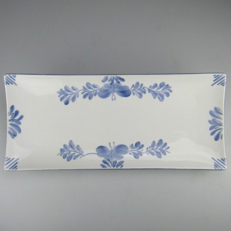 36 x 15 - Serveringsfad (A) / sushi tallerken i håndmalet porcelæn med motiv Sommerfugl