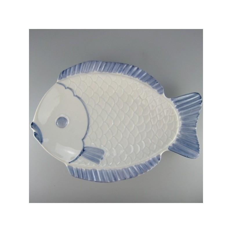 31 cm - Stor fisketallerken / lille serveringsfad i hånddekoreret porcelæn