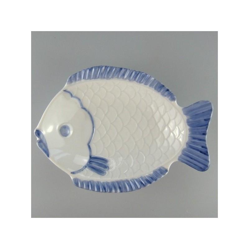 17 cm - Fisketallerken / lille serveringsfad i hånddekoreret porcelæn