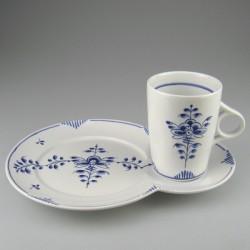 Kop og tallerken / TV-sæt i håndmalet porcelæn med dekoration Nostalgi