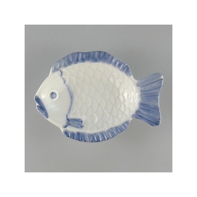 10 cm - Mini fisketallerken / asiet i håndmalet porcelæn