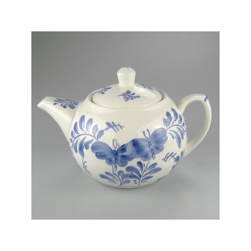 Blå Sommerfugl dekoration på håndmalet tepotte i porcelæn