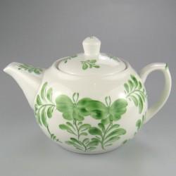 Grøn Sommerfugl dekoration på håndmalet tepotte i porcelæn