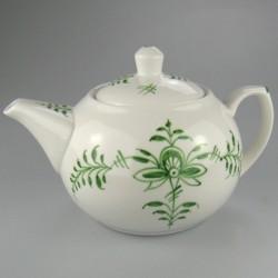 Grøn Nostalgi dekoration på håndmalet tekande i porcelæn