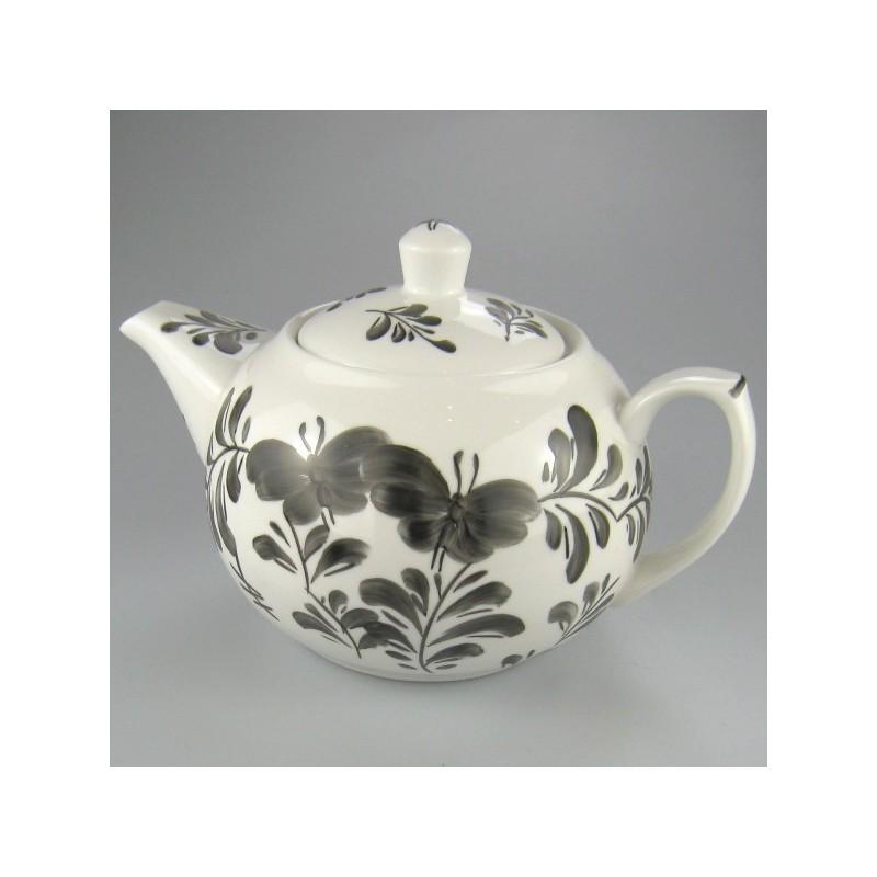 Sort Sommerfugl dekoration på håndmalet tepotte i porcelæn