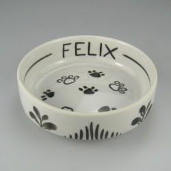 13 cm Foderskål - vandskål i håndmalet porcelæn med navn til katte, marsvin, hamstere og kaniner