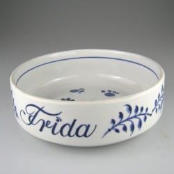 Hundeskål, madskål / vandskål i håndmalet porcelæn / keramik med navn