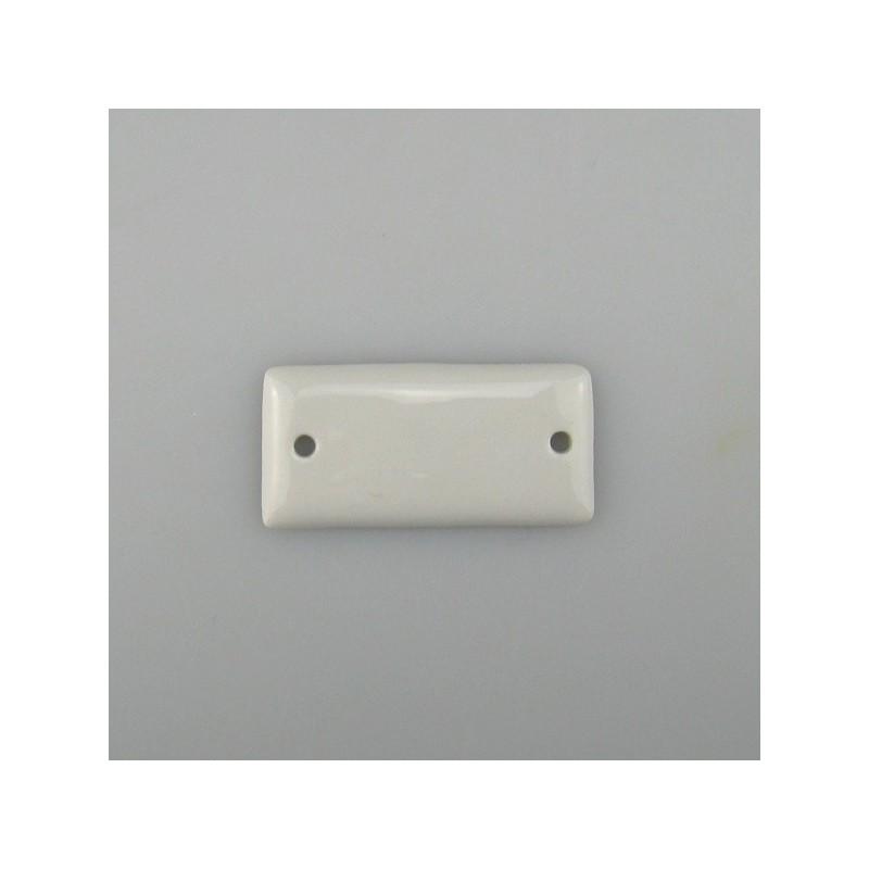 Lille firkantet skilt i håndmalet porcelæn (5 x 2,5 cm) med navn eller tal