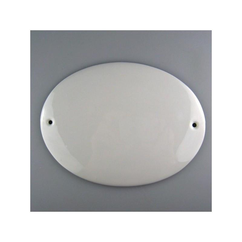 15 x 11,5 cm - Ovalt skilt i porcelæn med navn