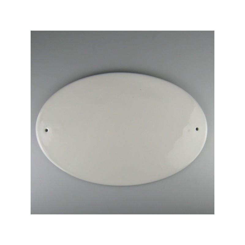 34 x 22 cm - Stort ovalt skilt navneskilt i porcelæn