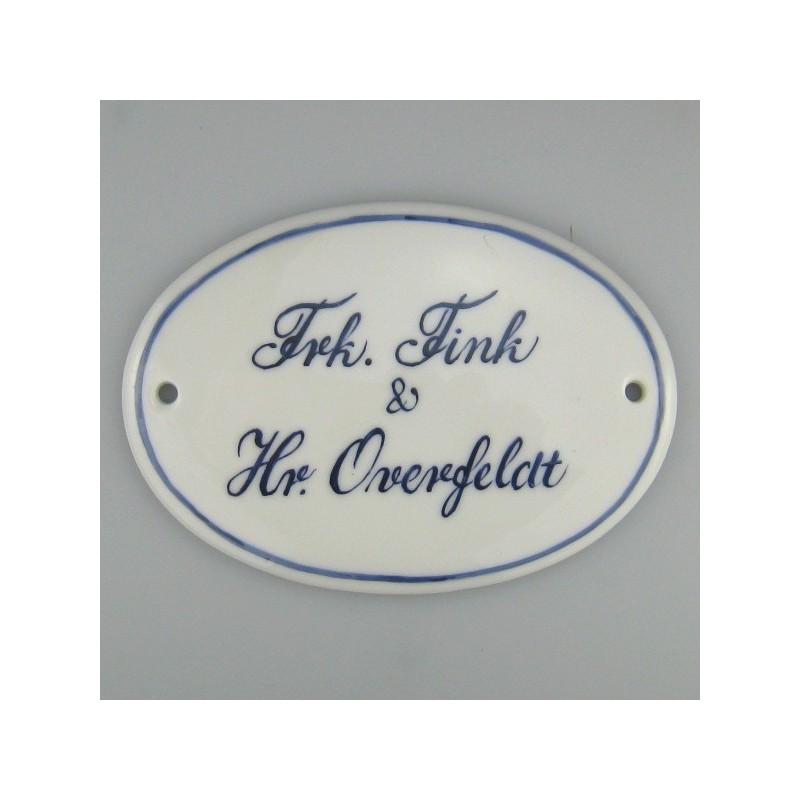 Til inspiration - eksempler på håndmalede ovale navneskilte i porcelæn