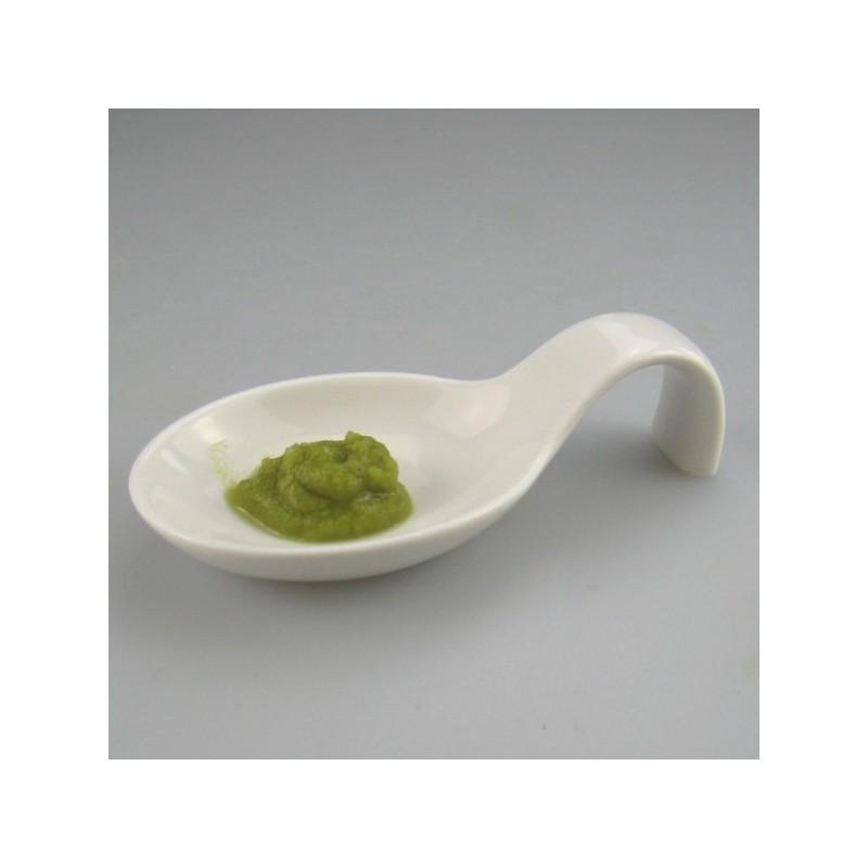 Ske i hvidt porcelæn til wasabi